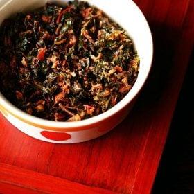 tambdi bhaji recipe, red amaranth sabzi recipe