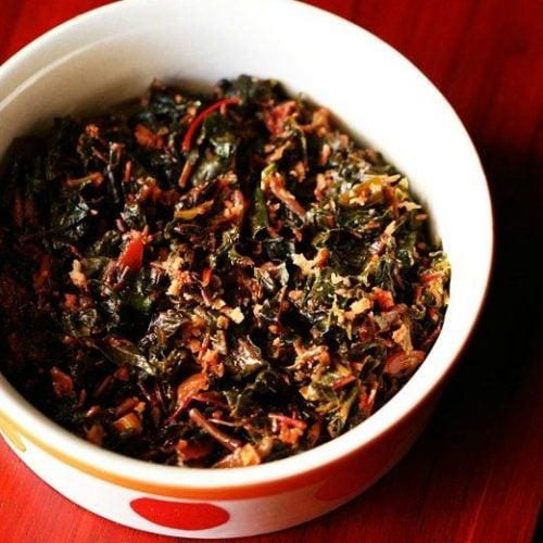 tambdi bhaji recipe, red spinach recipe, goan red amaranth sabzi recipe
