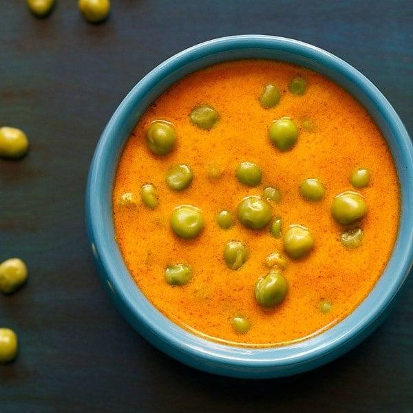 green peas masala recipe, green peas curry recipe, masala matar recipe