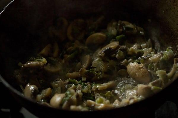 sauting mushrooms for making mushroom noodles recipe