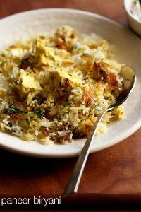 paneer biryani recipe, how to make paneer biryani recipe | biryani recipes