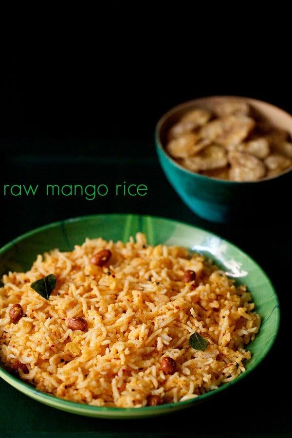 raw mango rice recipe, raw mango rice recipe, mavinkayi chitranna recipe