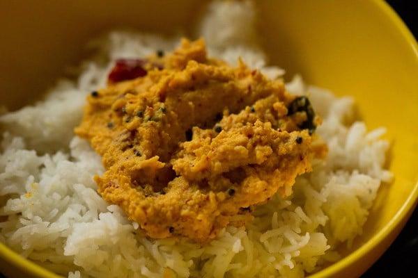 mixing raw mango rice recipe