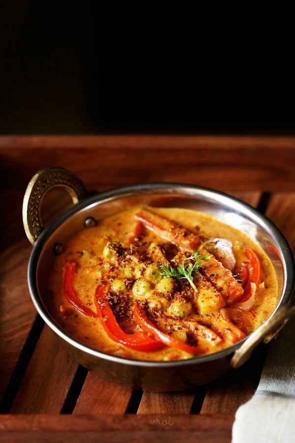 vegetable kadai gravy, vegetable kadai recipe, veg kadai recipe