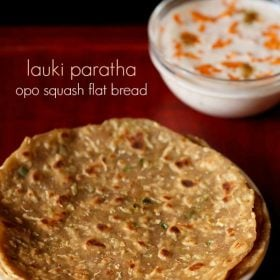lauki paratha served in a plate with a side of carrot raita