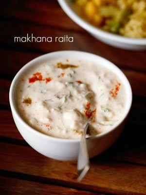 makhana raita recipe, phool makhana raita recipe