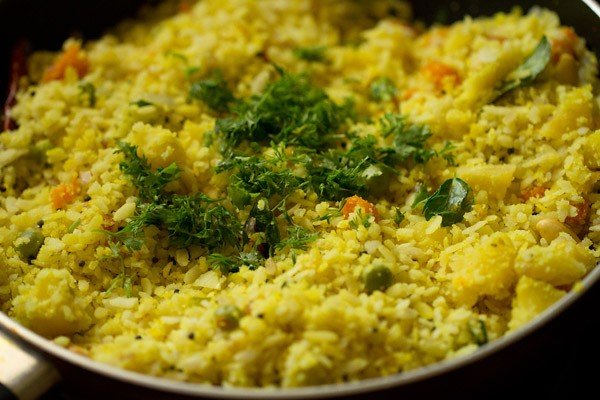 coriander for poha upma recipe