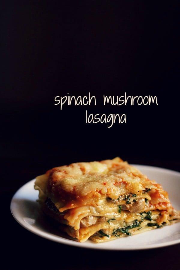 spinach mushroom lasagna recipe | veg spinach mushroom lasagna