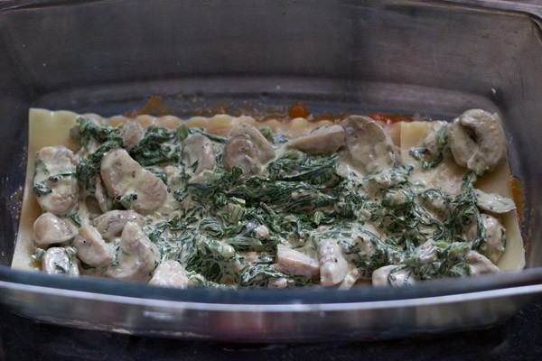 add spinach mushroom filling