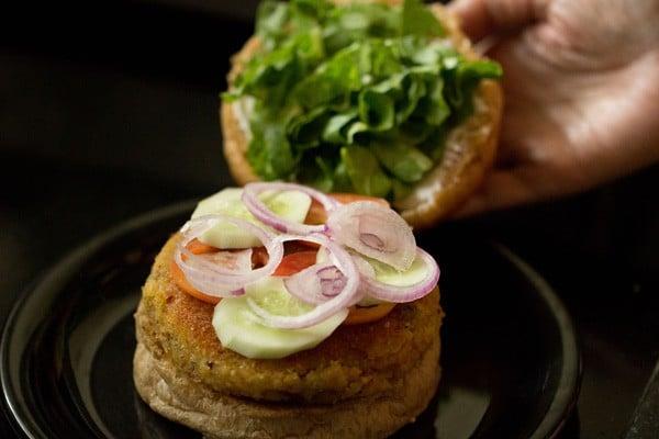 making vegetable burger recipe