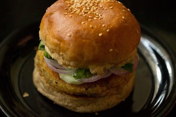 vegetable burger recipe, veg burger recipe, veggie burger recipe
