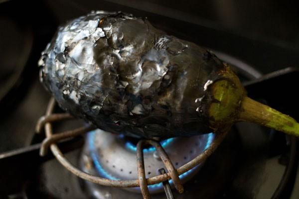roasting baingan for baigan chutney recipe