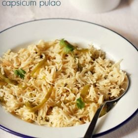 capsicum rice recipe, capsicum rice