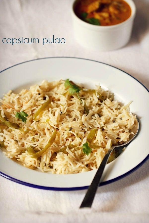 capsicum rice recipe, capsicum rice