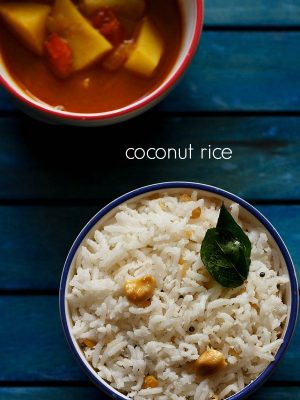 coconut rice recipe, how to make coconut rice | thengai sadam