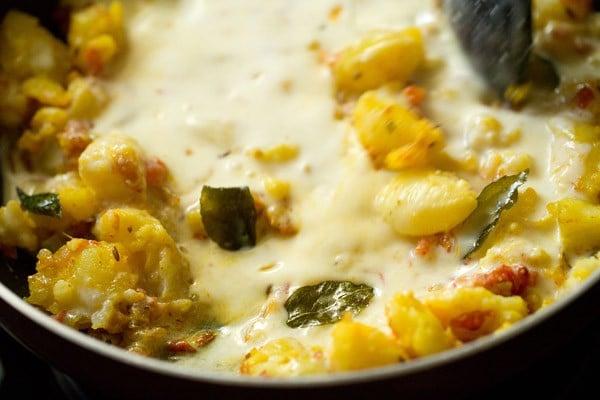 add dahi for making dahi aloo recipe