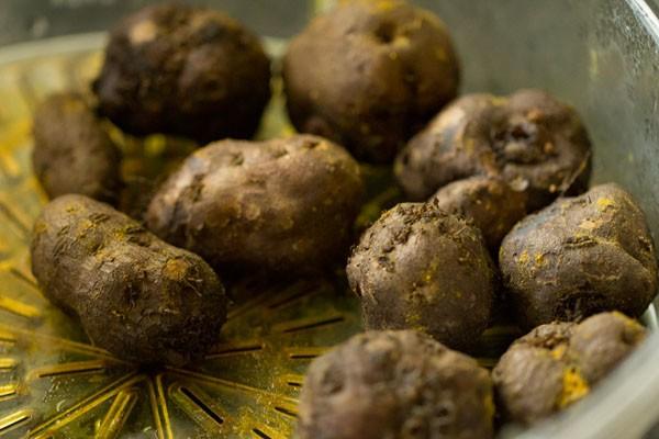 steamed koorka or chinese potatoes