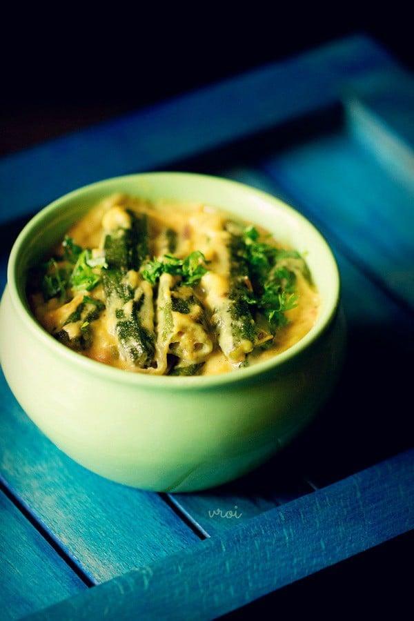 shahi bhindi curry recipe, bhindi curry recipe, shahi bhindi recipe