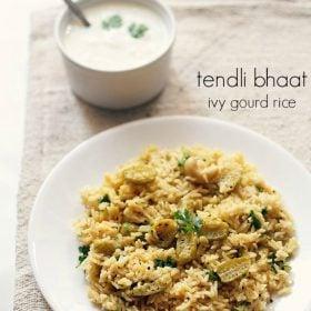 tendli bhaat recipe, ivy gourd rice, kovakkai rice
