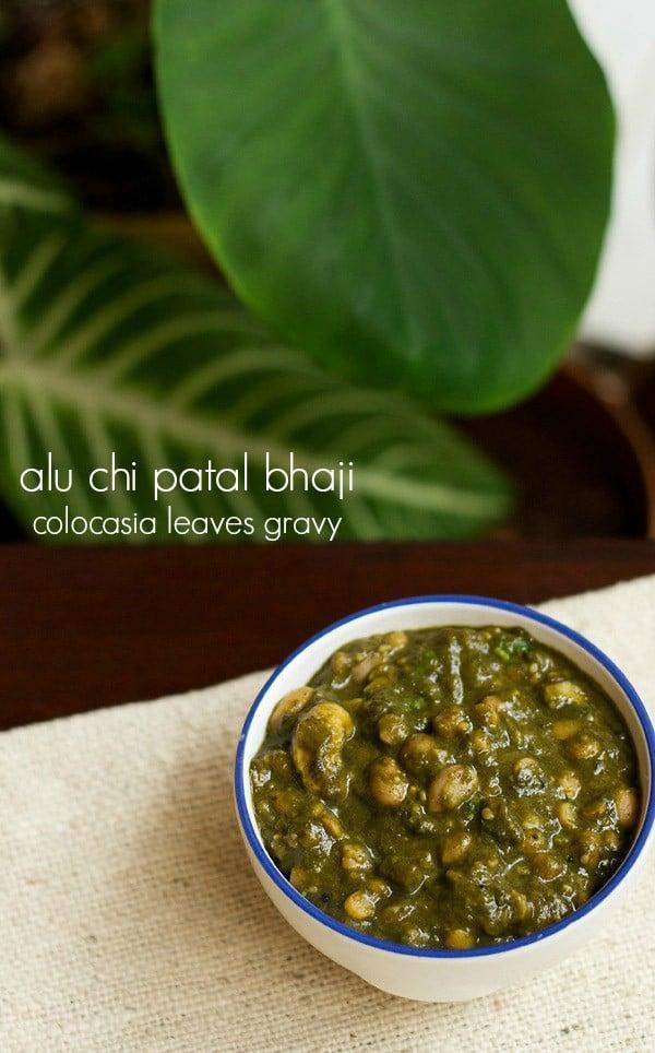 colocasia leaves gravy recipe | alu chi patal bhaji recipe