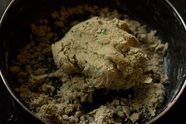 kneading bajra vada dough