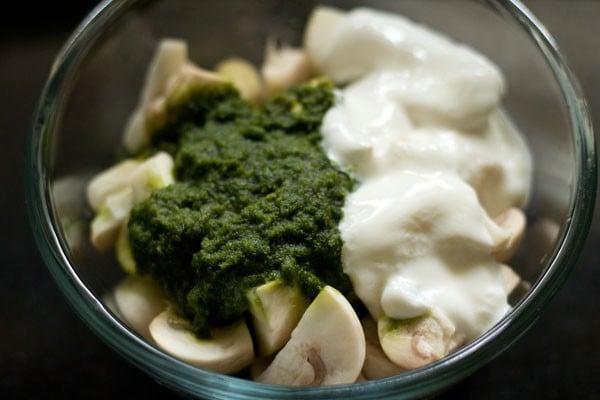 mushroom curd for chettinad mushroom biryani recipe