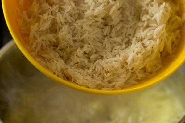 rice for mushroom biryani recipe