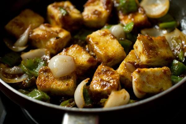 making chili paneer dry recipe