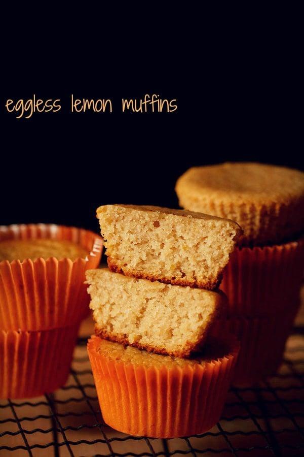eggless lemon muffins recipe, whole wheat lemon muffins recipe