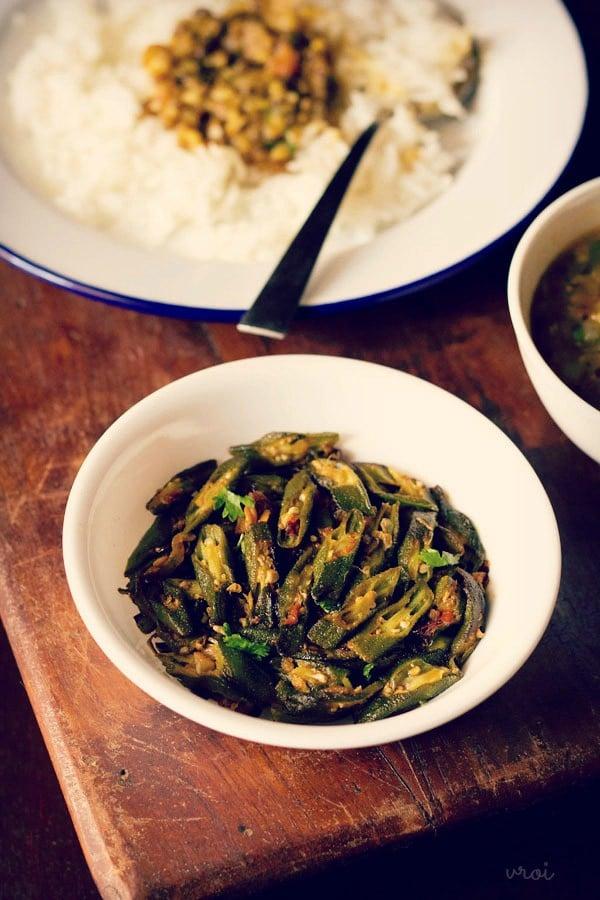 punjabi bhindi fry, bhindi fry recipe