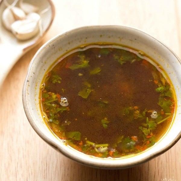 garlic rasam recipe, poondu rasam recipe