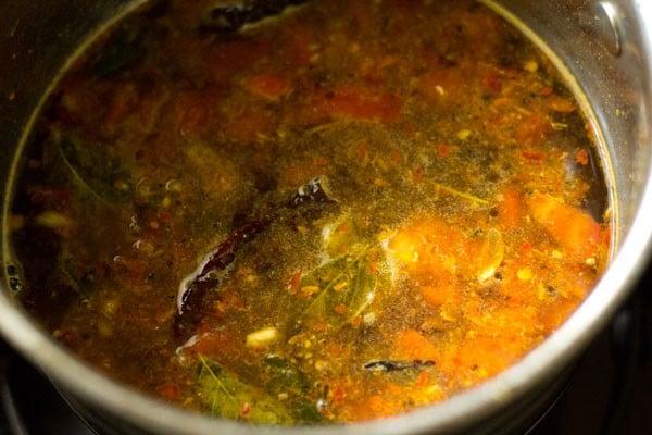 making garlic rasam recipe