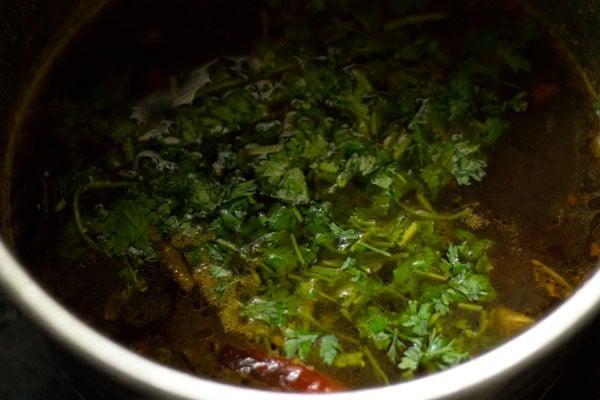 coriander for garlic rasam recipe
