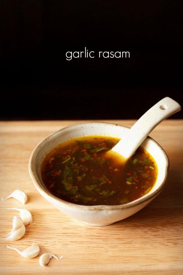 garlic rasam, poondu rasam