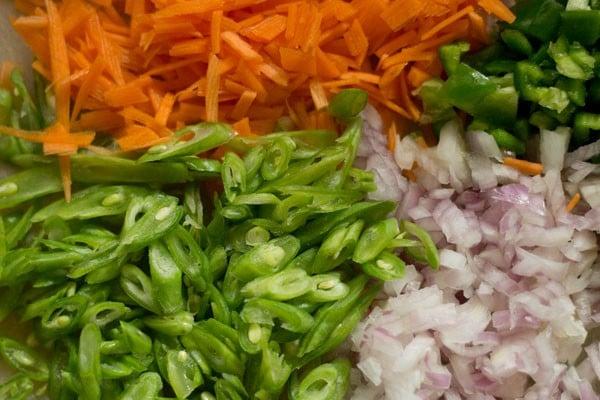 veggies for paneer fried rice recipe