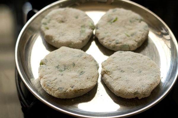 making suran vada or patties