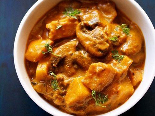 Aloo Mushroom Masala Recipe Potato Mushroom Curry Recipe