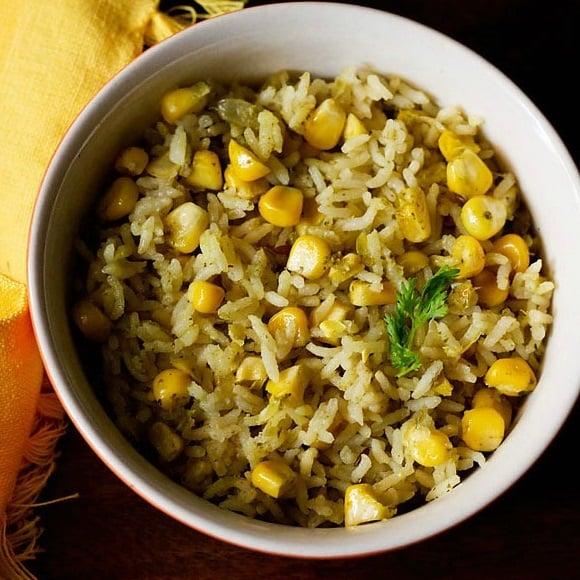corn pulao recipe, corn rice recipe, sweet corn pulao recipe, sweet corn rice recipe