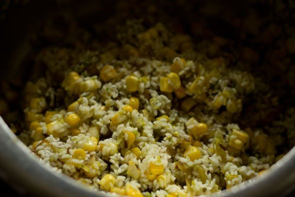 making corn pulao recipe