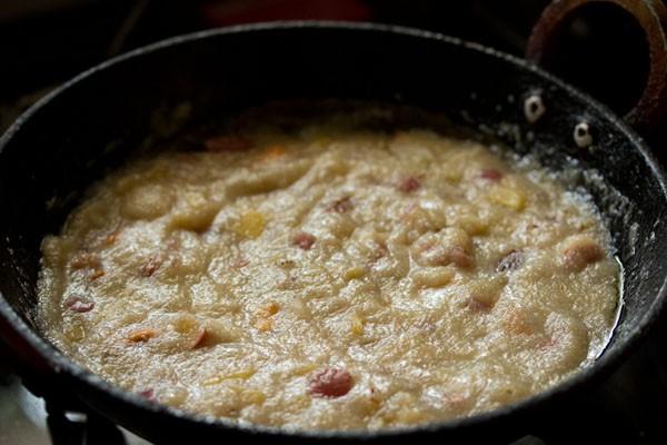 preparing fruit kesari recipe