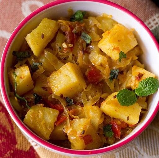 cabbage potato recipe, aloo patta gobhi recipe, potato cabbage recipe