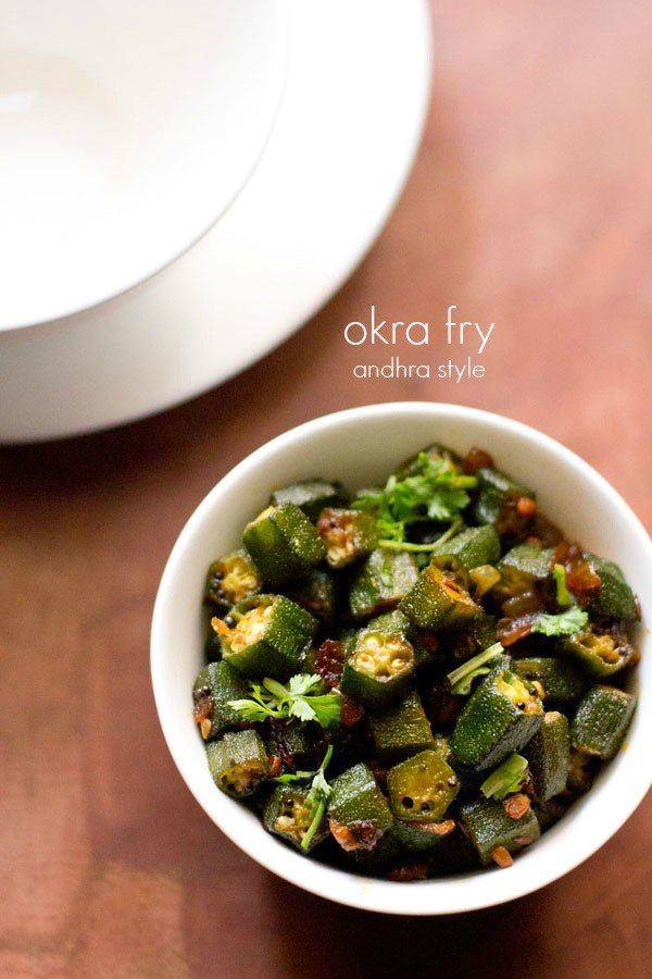 bendakaya vepudu recipe, andhra style bhindi fry | okra fry recipe
