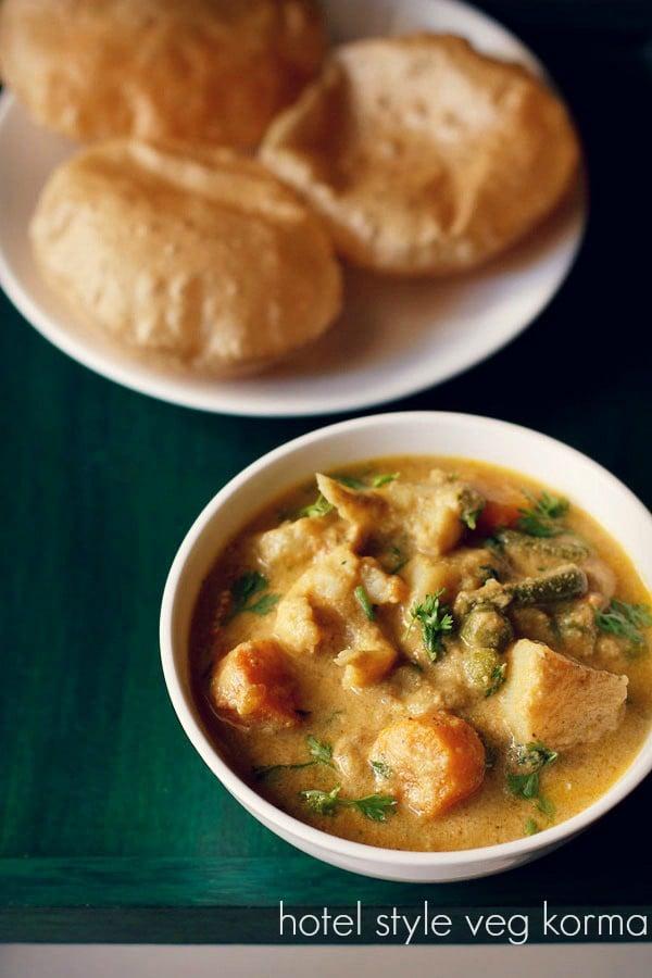 hotel style veg kurma recipe, how to make vegetable korma recipe
