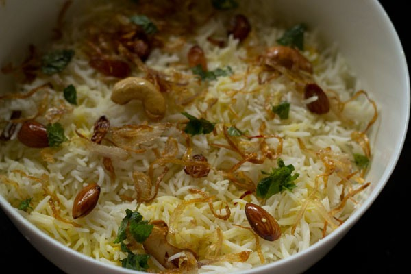 nuts and onions layer for Mughlai biryani