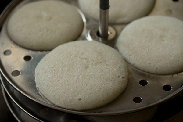 steaming idli - poha idli recipe