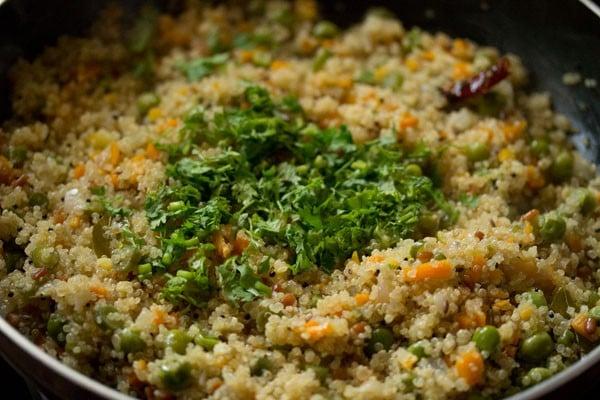 coriander for quinoa upma recipe
