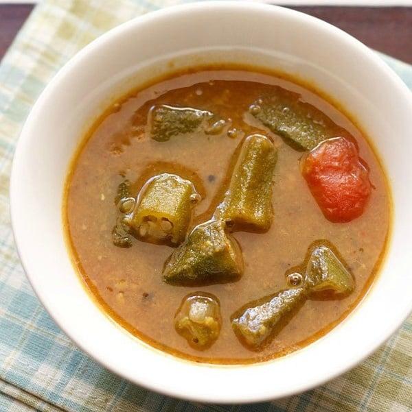 vendakkai sambar recipe, okra sambar recipe, bhindi sambar recipe