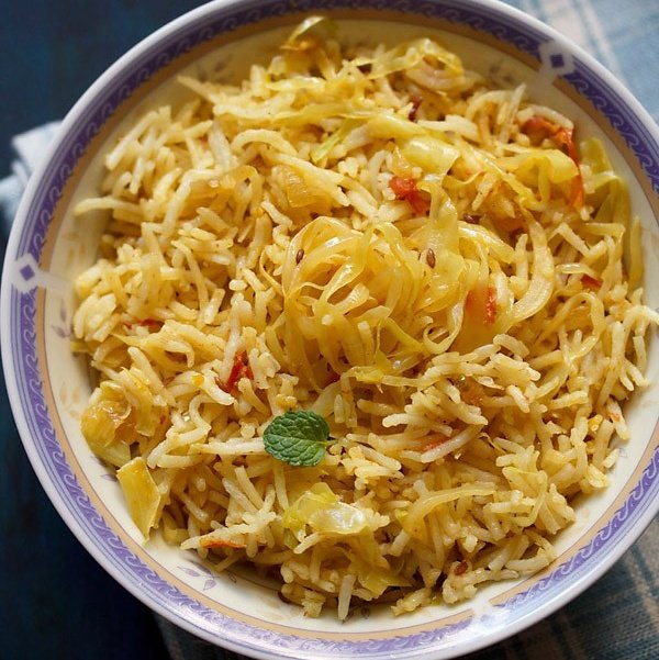 Cabbage Rice Indian Style Cabbage Fried Rice