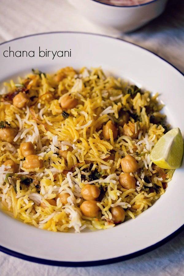 chole biryani recipe, how to make chole biryani | chana biryani