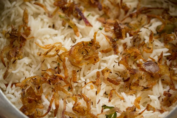 topping biryani with fried onions